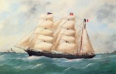 Le Belem vers 1900, représentation par Adam
