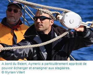 Aymeric Gibet à bord du Belem